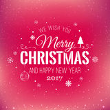 Christmas And New Year Typographical on shiny Xmas background with snowflakes, light, stars. Vector Illustration. Xmas card Stock Image