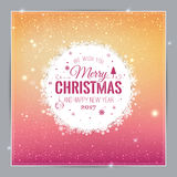 Christmas And New Year Typographical on shiny Xmas background with snowflakes, light, stars. Vector Illustration. Xmas card Royalty Free Stock Photo
