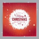 Christmas And New Year Typographical on shiny Xmas background with snowflakes, light, stars. Vector Illustration. Xmas card Royalty Free Stock Photos