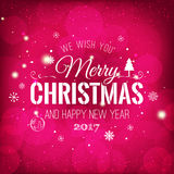 Christmas And New Year Typographical on shiny Xmas background with snowflakes, light, stars. Vector Illustration. Xmas Royalty Free Stock Image