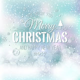 Christmas And New Year Typographical on shiny Xmas background with snowflakes, light, stars. Vector Illustration. Xmas Royalty Free Stock Images