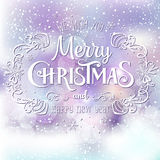 Christmas And New Year Typographical on shiny Xmas background with snowflakes, light, stars. Vector Illustration. Xmas Royalty Free Stock Photography