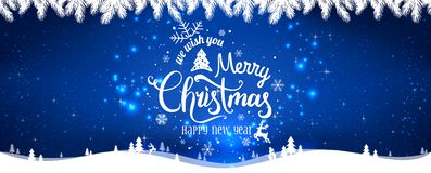 Christmas and New Year Typographical on shiny Xmas background with winter landscape with snowflakes, light, stars. Merry Christmas card. Vector Illustration stock illustration