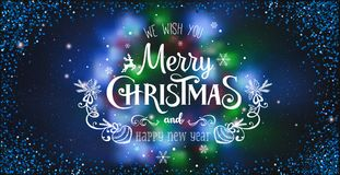 Christmas and New Year Typographical on shiny Xmas background with winter landscape with snowflakes, light, stars Royalty Free Illustration