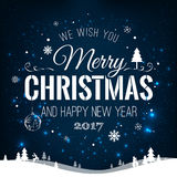 Christmas and New Year Typographical on shiny Xmas background with winter landscape with snowflakes, light, stars. Merry Christmas Stock Photo