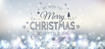 Christmas And New Year Typographical on Silver Xmas background with snowflakes, light, stars. Vector Illustration. Xmas. Card Royalty Free Stock Photos