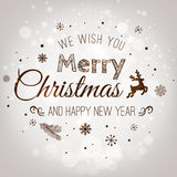 Christmas And New Year Typographical on Silver Xmas background with snowflakes, light, stars. Vector Illustration. Xmas. Card Stock Photo