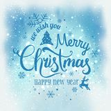 Christmas and New Year typographical on snowy background with sparking, light, stars. Glowing glitter light effects. Xmas card. Vector Illustration stock illustration