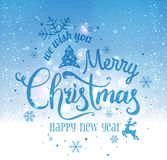 Christmas and New Year typographical on snowy background with sparking, light, stars. Glowing glitter light effects. Xmas card. Vector Illustration vector illustration