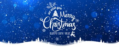 Christmas and New Year Typographical on snowy Xmas background with winter landscape with snowflakes, light, stars. Merry Christmas card. Vector Illustration royalty free illustration