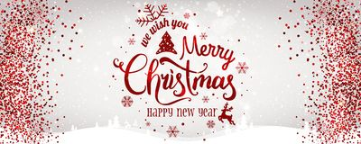 Christmas and New Year typographical on white background with Gold glitter texture. royalty free illustration