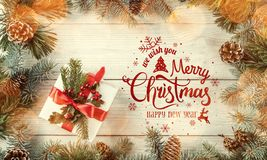 Christmas and New Year Typographical on white wooden background with Fir branches, gift, camera. Xmas and Happy New Year theme. Bokeh. Flat lay, top view vector illustration