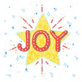 Christmas and New Year typography. Joy holidays greetings with star,swirls and sparkles.Seasons greetings card perfect for prints, flyers,cards,invitations and royalty free illustration