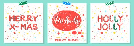 Christmas and New Year typography. Set of holidays cards with greetings,snowflakes and stars.Seasons greetings perfect for prints, flyers,cards,invitations and stock illustration