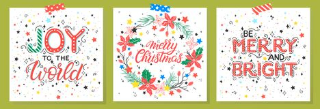 Christmas and New Year typography. Set of holidays cards with greetings,wreath,snowflakes and stars.Seasons greetings perfect for prints, flyers,cards vector illustration