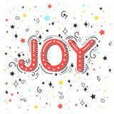 Christmas and New Year typography. Joy holidays greetings with swirls, sparkles and stars.Seasons greetings card perfect for prints, flyers,cards,invitations stock illustration