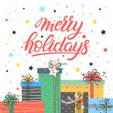 Christmas and New Year typography. Merry holidays with different gift boxes, snowflakes and stars.Seasons greetings card perfect for prints, flyers,cards royalty free illustration