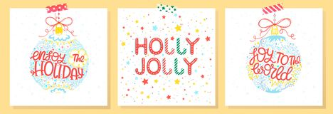 Christmas and New Year typography. Set of holidays cards with greetings,christmas balls,snowflakes and stars.Seasons greetings perfect for prints, flyers,cards stock illustration