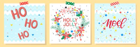 Christmas and New Year typography. Set of holidays cards with greetings,wreath,snowflakes and stars.Seasons greetings perfect for prints, flyers,cards royalty free illustration