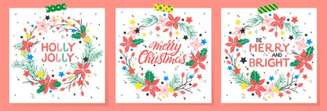 Christmas and New Year typography. Set of holidays cards with greetings,wreaths and stars.Seasons greetings perfect for prints, flyers,cards,invitations and stock illustration