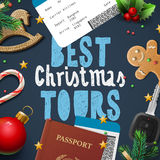 Christmas and New Year, vacations travel, tours Stock Photos