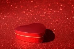 Christmas New Year Valentine Day Red Heart Box Glitter background. Holiday abstract texture fabric. Element, flash. stock image