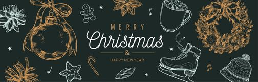 Christmas and New Year vector banner, background with vintage hand drawn elements royalty free stock image