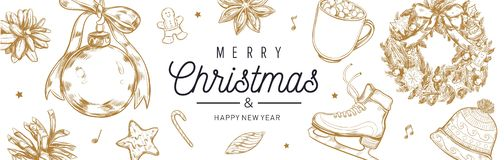 Christmas and New Year vector banner, background with vintage hand drawn elements stock image