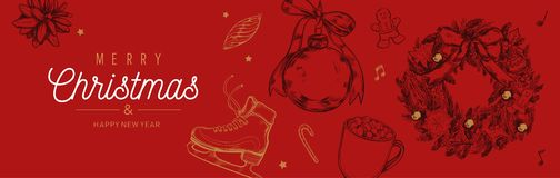 Christmas and New Year vector banner, background with vintage hand drawn elements royalty free stock photo