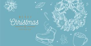 Christmas and New Year vector banner, background with vintage hand drawn elements stock photos