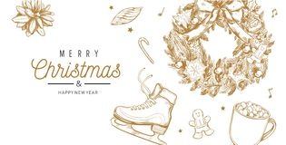 Christmas and New Year vector banner, background with vintage hand drawn elements royalty free stock images