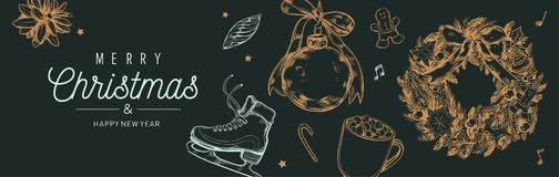 Christmas and New Year vector banner, background with vintage hand drawn elements stock photo