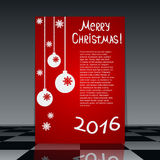 Christmas and New Year vector flyer. Invitation or greeting card template Stock Photos