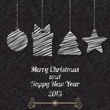 Christmas and New Year vector greeting card Stock Photos