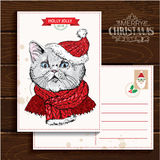 Christmas and New Year  Vector greeting card Royalty Free Stock Images