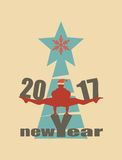 Christmas and New Year. Vector greeting card. Man balanced on new year text Stock Image