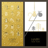 Christmas and New Year vector greeting cards set with outline gi. Ft icons and golden glowing background. Design concept for winter holiday backgrounds, flyer Stock Photography