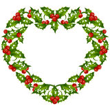 Christmas and New Year Vector holly frame in the shape of heart Royalty Free Stock Photos