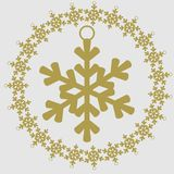Christmas and New Year vector icon. Snowflake Stock Photos