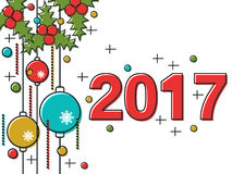 Christmas and New Year 2017 vector illustration. Christmas and New Year 2017 thin line flat vector illustration. Greeting or invitation card template Royalty Free Stock Image