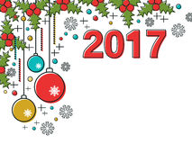 Christmas and New Year 2017 vector illustration. Christmas and New Year 2017 thin line flat vector illustration. Greeting or invitation card template Royalty Free Stock Photo