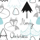 Christmas and new year vector seamless patterns. Cartoon royalty free illustration