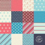 Christmas and New Year vector seamless patterns Stock Photo