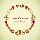 Christmas and New Year vector wreath Royalty Free Stock Photo