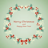 Christmas and New Year vector wreath Royalty Free Stock Image