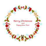 Christmas and New Year vector wreath Stock Photography