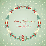 Christmas and New Year vector wreath Stock Photos