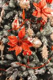 Christmas and New Year vertical background. Christmas tree decor Stock Photos