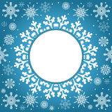 Christmas and New Year vintage greeting card. Creative winter background, snowflakes ornament, blue festive paper, holiday decor Royalty Free Stock Photos