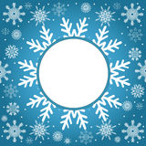 Christmas and New Year vintage greeting card. Creative winter background, snowflakes ornament, blue festive paper, holiday decor Stock Photography